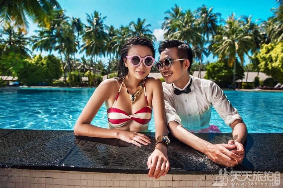 马尔代夫旅拍婚纱照之马代泳池