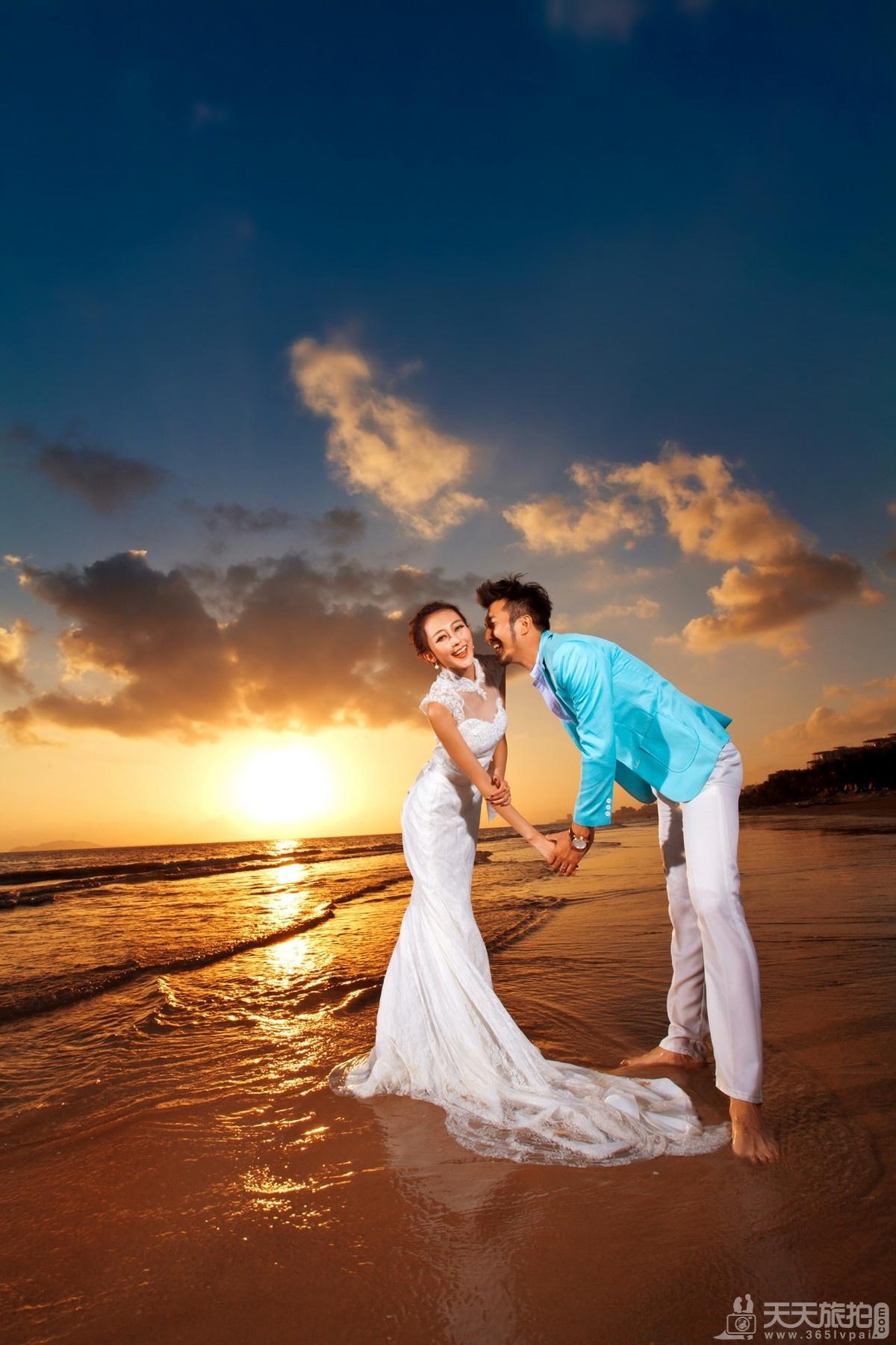 韩国济州岛旅拍婚纱照之海滩晚霞