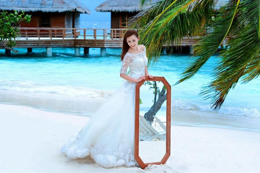 马尔代夫旅拍婚纱照之班度士岛(海岸吻风)