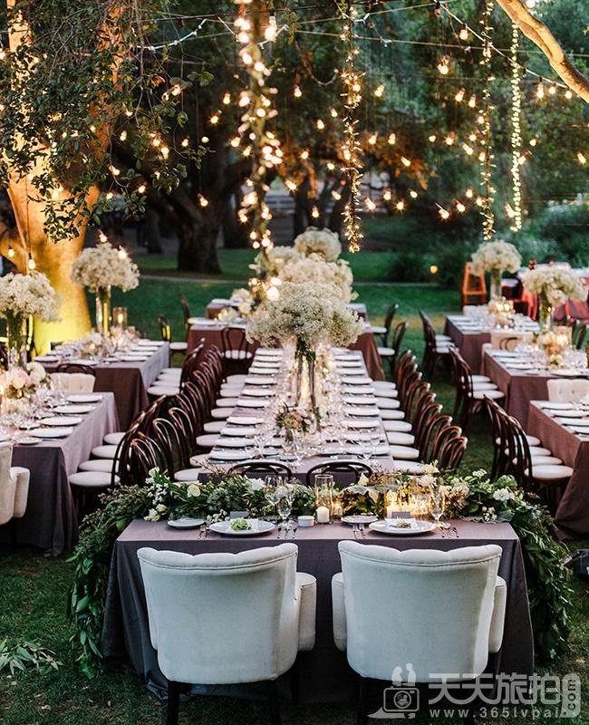 21个户外婚礼唯美浪漫 餐桌布置 ( 有圆桌唷 )