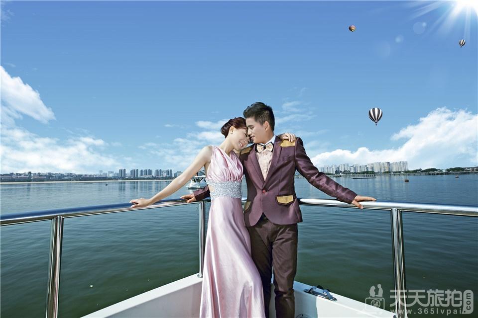 海边游艇婚纱照1