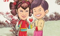 可爱个性的卡通结结婚照图片欣赏