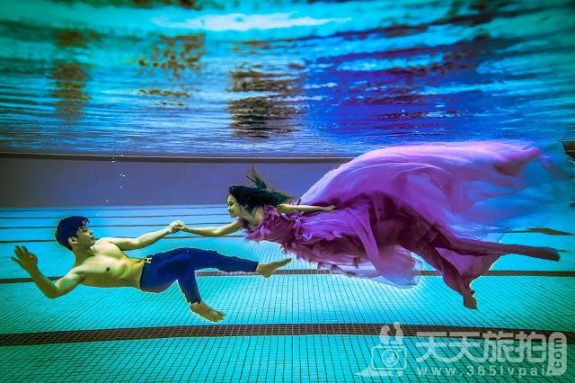圆美人鱼童话世界梦——水下婚纱照摄影【2】